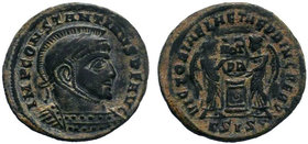 CONSTANTINE I (307-337). Follis. Siscia. Obv: IMP CONSTANTINVS P F AVG. Laureate, helmeted and cuirassed bust right. Rev: VICTORIAE LAETAE PRINC PERP ...