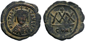 BYZANTINE.Tiberius II Constantine, AE Three-Quarter Follis (30 Nummi), 578-582 AD, Constantinople mint. d m TIb CONS_TANT P P AVG, Crowned, draped and...