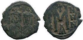 Leo III, the Isaurian. 717-741. AE follis (22.45 mm, 5.31 g, 7 h). Constantinople mint. [LЄON S CON], facing busts of Leo III (on left) and Constantin...