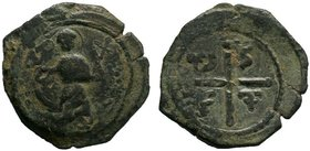 CRUSADER. Princes of Antioch. Tancred. Regent for captured Bohemond I, 1104-1112 A.D.. AE follis. Third type. St. Peter standing facing, raising hand ...