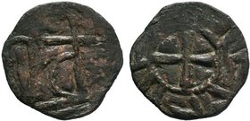 Armenia, Cilician Armenia Uncertain Ruler Æ Pogh. AD 1080-1095. Baronial. 'Kristos...' around cross pattée / Large cross, Large U in right field. Arsl...
