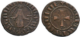 ARMENIA, Cilician Armenia. Royal . Gosdantin I. 1298-1299. Æ Kardez (17mm, 2.78 g, 9h). Sis mint. Gosdantin standing facing, holding sword and cross /...