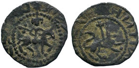 Cilician Armenia, Post Roupenian, AE Pogh. Obverse: Equestrian figure to right.Pseudo-Aremenian script Reverse: Lion to right with cross behind. Dot i...