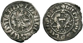 ARMENIA.Cilician Armenia. Levon I. 1198-1219. AR Tram . Levon seated facing on throne decorated with lions, holding cross and lis, with feet resting u...