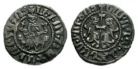 ARMENIA. Cilician Armenia.Levon I. 1198-1219. AR Tram . Levon seated facing on throne decorated with lions, holding globus cruciger and lis-tipped sce...