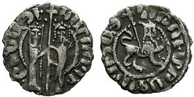 ARMENIA. Cilician Armenia. Hetoum I and Zabel. 1226-1270. AR Tram. Zabel and Hetoum standing facing one another, each crowned with head facing and hol...