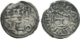 CAROLINGIANS. temp. Charles le Simple Louis d'Outremer. 898-954. AR Denier . Immobilized type of Melle mint of Charles le Chauve. Metallum (Melle) min...