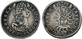 Leopold I, House of Habsburg. XV Kreuzer 1677  Condition: Very Fine  Weight: 6.34 gr Diameter: 30 gr