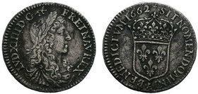 FRANCE. Louis XIV (1643-1715). 1/12 Écu (1662 A). Paris. Obv: LVD XIIII D G FR ET NAV REX. Laureate, draped and cuirassed bust right. Rev: SIT NOMEN D...