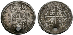 Spain, Fillipe V, AR 2 Reales, Cuenca 1721. PHILIPPUS V D G, Crowned shield of Spain / HISPANIARUM REX, Arms of Castile and Leon.   Condition: Very Fi...