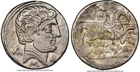 SPAIN. Turiaso (Zaragoza). Ca. 2nd-1st centuries BC. AR denarius (18mm, 1h). NGC XF. Ca. 100-75 BC. Bare male head right, wearing necklace; Ca, S, Tu ...