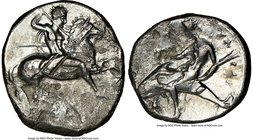 CALABRIA. Tarentum. Ca. 332-302 BC. AR stater or didrachm (21mm, 10h). NGC Fine. Ari- and A- magistrates. Nude warrior on horse rearing right, shield ...