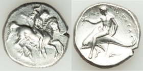 CALABRIA. Tarentum. Ca. 332-302 BC. AR stater or didrachm (22mm, 7.84 gm, 6h). About VF, cleaning marks. Sa-, magistrate. Nude warrior on horse rearin...