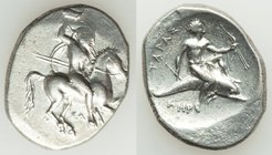 CALABRIA. Tarentum. Ca. 332-302 BC. AR stater or didrachm (24mm, 7.81 gm, 6h). About VF. Sa- and Her-, magistrates. Warrior on horseback rearing right...