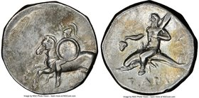 CALABRIA. Tarentum. Ca. 281-240 BC. AR stater or didrachm (20mm, 10h). NGC VF, brushed. Apollo- and Ie-, magistrates. Warrior on horseback galloping l...