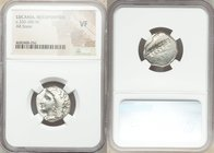 LUCANIA. Metapontum. Ca. 330-280 BC. AR stater or nomos (20mm, 8h). NGC VF. Head of Demeter left, hair loose and wreathed in grain ears, wearing tripl...