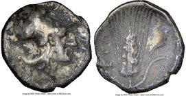 LUCANIA. Metapontum. Ca. 325-275 BC. AR diobol (11mm, 2h). NGC Fine. Head of Athena right, wearing Corinthian helmet pushed back on head / META, barle...