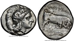 LUCANIA. Thurium. Ca. 350-300 BC. AR stater (21mm, 9h). NGC Choice VF, brushed. Head of Athena right, wearing crested Attic helmet adorned with Scylla...