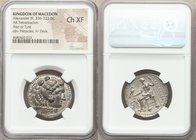 MACEDONIAN KINGDOM. Alexander III the Great (336-323 BC). AR tetradrachm (27mm, 11h). NGC Choice XF. Lifetime or early posthumous issue of Tyre, by La...