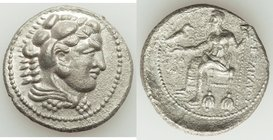 MACEDONIAN KINGDOM. Alexander III the Great (336-323 BC). AR tetradrachm (27mm, 16.47 gm, 10h). XF, porosity. Posthumous issue of Ake or Tyre, dated R...