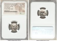 MACEDONIAN KINGDOM. Alexander III the Great (336-323 BC). AR drachm (17mm, 4.29 gm, 2h). NGC Choice AU S 5/5 - 5/5. Late lifetime issue of Abydus(?), ...