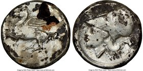ACARNANIA. Argos Amphilocicum. Ca. 350-300 BC. AR stater (21mm, 8h). NGC Fine, brushed. Pegasus flying left, A below / APΓEI, head of Athena left, wea...