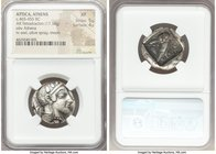 ATTICA. Athens. Ca. 465-455 BC. AR tetradrachm (24mm, 17.18 gm, 4h). NGC XF 5/5 - 4/5. Head of Athena right, wearing crested Attic helmet ornamented w...