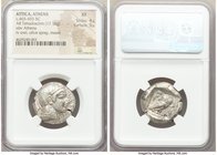 ATTICA. Athens. Ca. 465-455 BC. AR tetradrachm (23mm, 17.16 gm, 1h). NGC XF 4/5 - 5/5. Head of Athena right, wearing crested Attic helmet ornamented w...