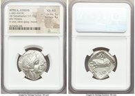 ATTICA. Athens. Ca. 440-404 BC. AR tetradrachm (26mm, 17.18 gm, 1h). NGC Choice AU 5/5 - 4/5. Mid-mass coinage issue. Head of Athena right, wearing cr...