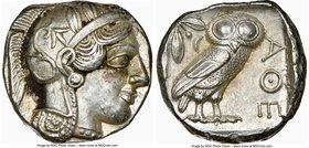 ATTICA. Athens. Ca. 440-404 BC. AR tetradrachm (23mm, 17.21 gm, 1h). NGC AU 5/5 - 4/5. Mid-mass coinage issue. Head of Athena right, wearing crested A...