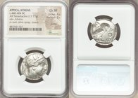 ATTICA. Athens. Ca. 440-404 BC. AR tetradrachm (24mm, 17.17 gm, 6h). NGC Choice XF 4/5 - 2/5, graffiti. Mid-mass coinage issue. Head of Athena right, ...