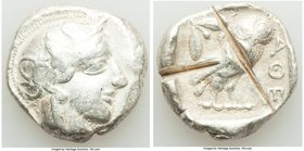 ATTICA. Athens. Ca. 440-404 BC. AR tetradrachm (25mm, 17.10 gm, 12h). Fine, test cuts. Mid-mass coinage issue. Head of Athena right, wearing crested A...