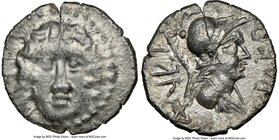 CARIA. Halicarnassus. Ca. 2nd-1st centuries BC. AR drachm (17mm, 12h). NGC VF. Ca. 150-50 BC, Dracon, magistrate. Head of Helios facing, hair parted i...