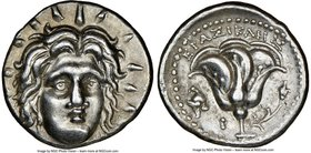 CARIAN ISLANDS. Rhodes. Ca. 250-205 BC. AR didrachm (20mm, 12h). NGC Choice XF. Erasicles, magistrate. Radiate facing head of Helios, turned slightly ...