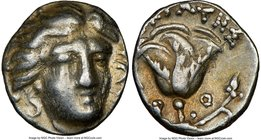 CARIAN ISLANDS. Rhodes. Ca. 230-205 BC. AR hemidrachm (11mm, 12h). NGC Choice VF. Eucrates, magistrate. Facing head of Helios, turned slightly right, ...