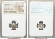 LYCIAN LEAGUE. Masicytes. Ca. 1st century BC. AR hemidrachm (14mm, 1h). NGC Choice AU. Ca. 48-20 BC. Series 1. Laureate head of Apollo right; Λ-Y belo...