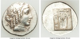 LYCIAN LEAGUE. Masicytes. Ca. 1st century BC. AR hemidrachm (15mm, 2.10 gm, 12h). About XF. Series 5. Laureate head of Apollo right; Λ-Y below / M-A, ...