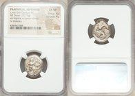 PAMPHYLIA. Aspendus. Ca. mid-5th century BC. AR stater (20mm, 10.75 gm, 7h). NGC Choice VF 4/5 - 4/5. Helmeted nude hoplite advancing right, shield in...
