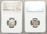 PAMPHYLIA. Aspendus. Ca. mid-5th century BC. AR stater (21mm, 10.95 gm, 11h). NGC Choice VF 4/5 - 4/5. Helmeted nude hoplite advancing right, shield i...