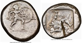 PAMPHYLIA. Aspendus. Ca. mid-5th century BC. AR stater (21mm, 5h). NGC Choice VF, test cut. Helmeted nude hoplite warrior advancing right, shield in l...