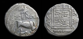 ILLYRIA, Dyrrhachion, c. 229-100 BC, AR drachm/victoriatus, issued under Xenon and Pyrba-, magistrates. 3.18g, 17mm.