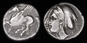 CORINTHIA, Corinth, c. 350-300 BCE, AR drachm. 2.55g, 13mm.