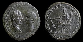 MOESIA INFERIOR, Marcianopolis: Macrinus with Diadumenian (217-218), issued by Pontianus, legatus consularis, AE pentassarion. 11.03g, 27mm.