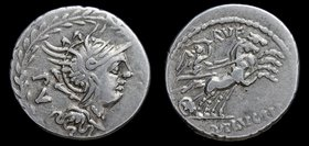 M. Lucilius Rufus, 101 BCE, AR denarius. Rome, 3.93g, 20mm.