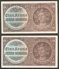 Bohemia & Moravia German Occupation-WWII Lot of 2 Banknotes 1 Koruna 1940 Issued Note & Specimen