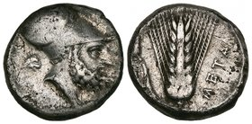 Magna Graecia, coins in silver (9) and bronze (1), comprising didrachm of Neapolis (ex-mount), incuse type stater of Metapontum (clipped), Leukippos t...