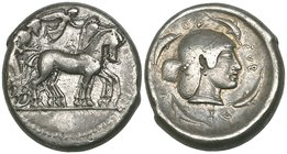 Sicily, Syracuse, tetradrachm, c. 480-475 BC, quadriga driven right, rev., ΣΥRΑΚΟΣΙΟΝ, diademed head of Arethusa right surrounded by four dolphins, 17...