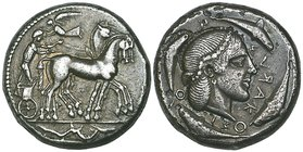 Sicily, Syracuse, tetradrachm, c. 460-450 BC, quadriga right with pistrix below, rev., ΣΥЯΑΚΟΣΙΟΝ, diademed head of Arethusa right surrounded by four ...