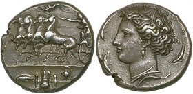 Sicily, Syracuse, decadrachm, c. 400 BC, signed by Euainetos, quadriga driven left by charioteer who is crowned by Nike flying above; in ex., on steps...