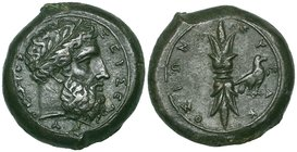 Sicily, Syracuse, Ae hemidrachm, c. 367-344 BC, ΖΕΥΣ ΕΛΕΥΘΕΡΙΟΣ, laureate head of Zeus right, rev., ΣΥPΑΚΟΣΙΩΝ, thunderbolt with eagle on right, 15.99...